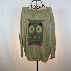 Rewind Owl pullover novelty sweater L